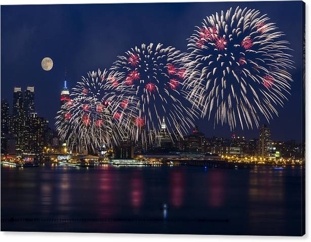 Limited Time Promotion: Fireworks And Full Moon Over New York City Stretched Canvas Print