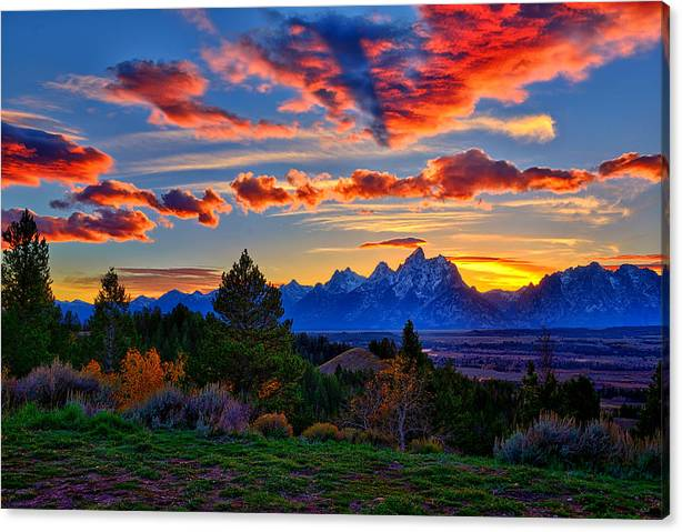 Limited Time Promotion: Grand Teton Sunset Stretched Canvas Print