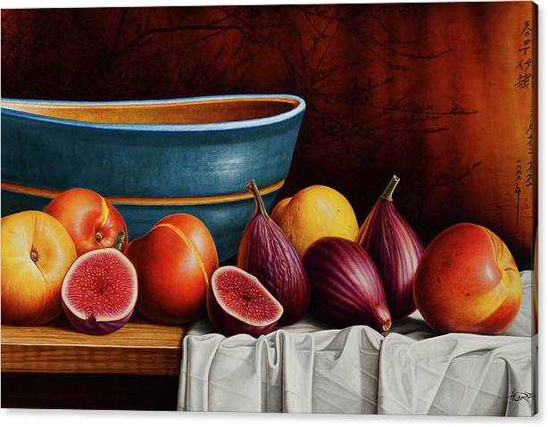 Limited Time Promotion: Peaches And Figs Stretched Canvas Print