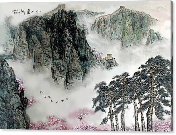 Limited Time Promotion: Spring Mountains And The Great Wall Stretched Canvas Print