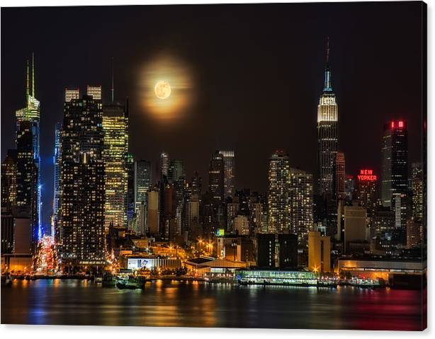 Limited Time Promotion: Super Moon Over Nyc Stretched Canvas Print