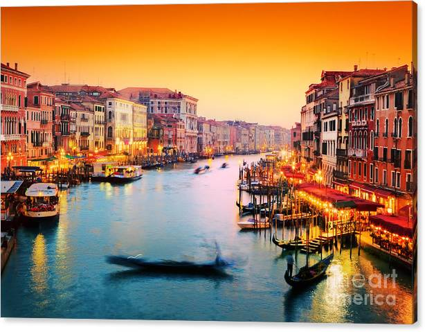 Limited Time Promotion: Venice Italy Gondola Floats On Grand Canal At Sunset Stretched Canvas Print