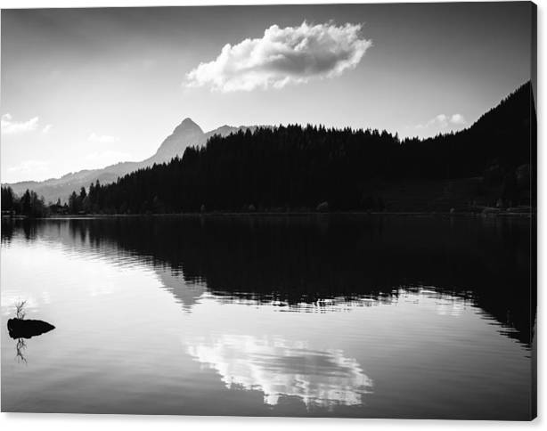 Limited Time Promotion: Water Reflection Black And White Stretched Canvas Print