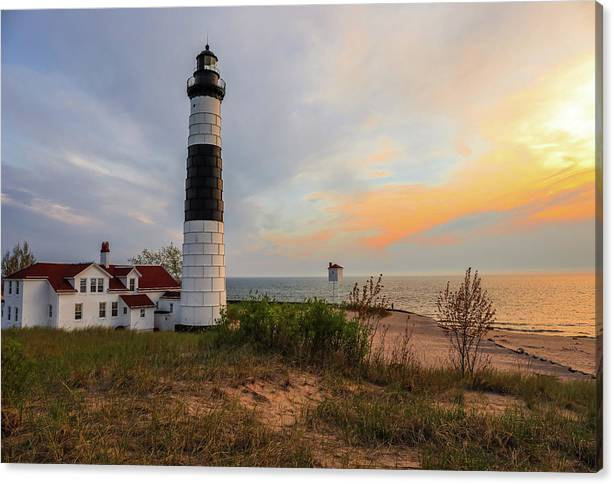 Limited Time Promotion: Big Sable Point Lighthouse At Sunset Stretched Canvas Print