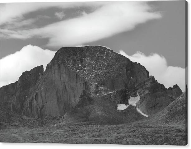 Limited Time Promotion: Black And White Longs Peak Detail Stretched Canvas Print
