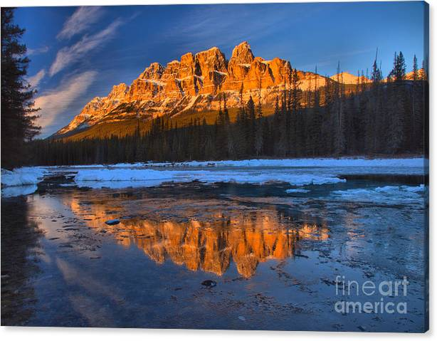 Limited Time Promotion: Castle Mountain Icy Afternoon Reflections Stretched Canvas Print