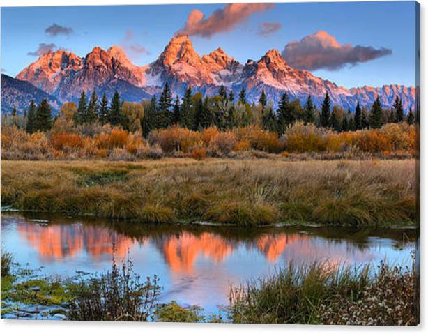 Limited Time Promotion: Fire From The Teton Tips Panorama Stretched Canvas Print