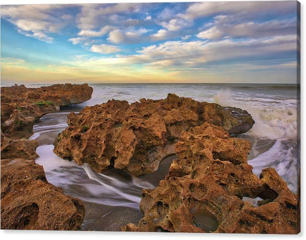 Limited Time Promotion: Florida Riviera Beach Ocean Reef Park Stretched Canvas Print