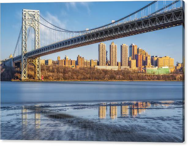 Limited Time Promotion: George Washington Bridge Nyc Reflections Stretched Canvas Print