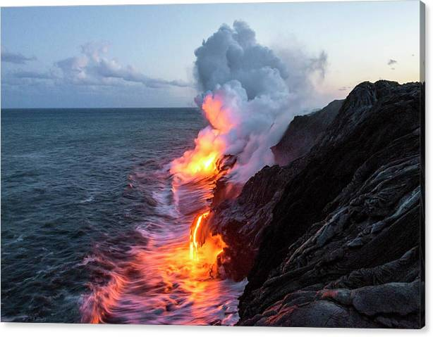 Limited Time Promotion: Kilauea Volcano Lava Flow Sea Entry 3- The Big Island Hawaii Stretched Canvas Print