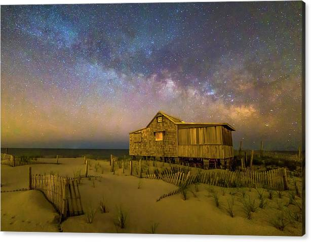 Limited Time Promotion: New Jersey Shore Starry Skies And Milky Way Stretched Canvas Print