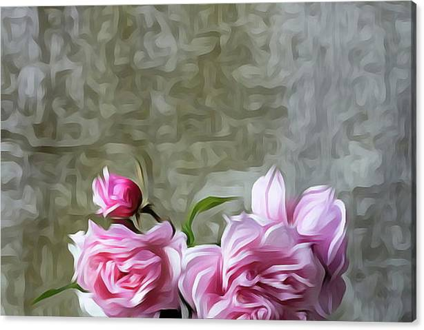 Limited Time Promotion: Pink Color Roses Flowers Stretched Canvas Print