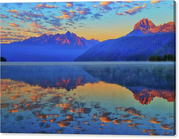 Limited Time Promotion: Redfish Lake Morning Reflections Stretched Canvas Print