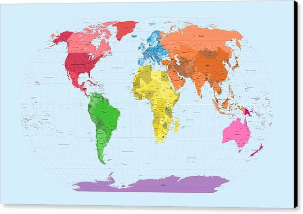 map of the world canvas print featuring the digital art world map continents by michael tompsett