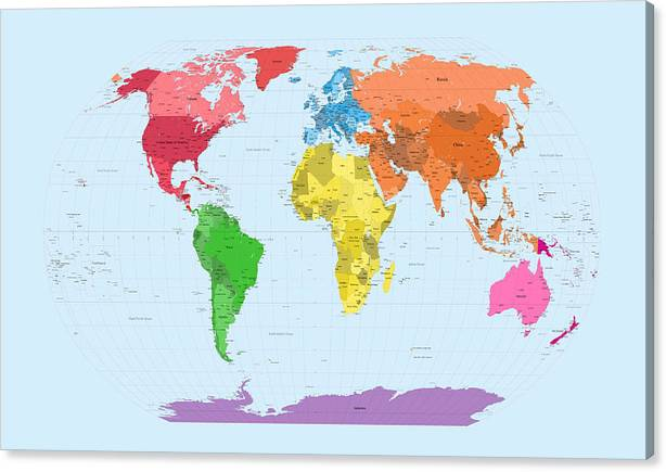 World Map Continents Canvas Print / Canvas Art by Michael Tompsett