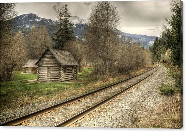 Log Cabin and Railroad Tracks by Claudio Bacinello