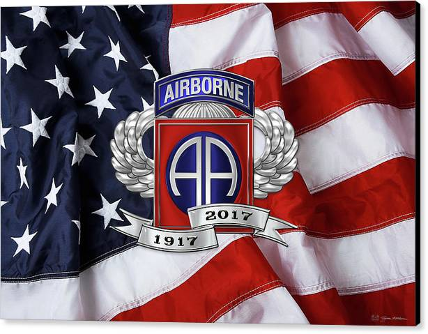 82nd Airborne Division 100th Anniversary Insignia over American Flag  by Serge Averbukh