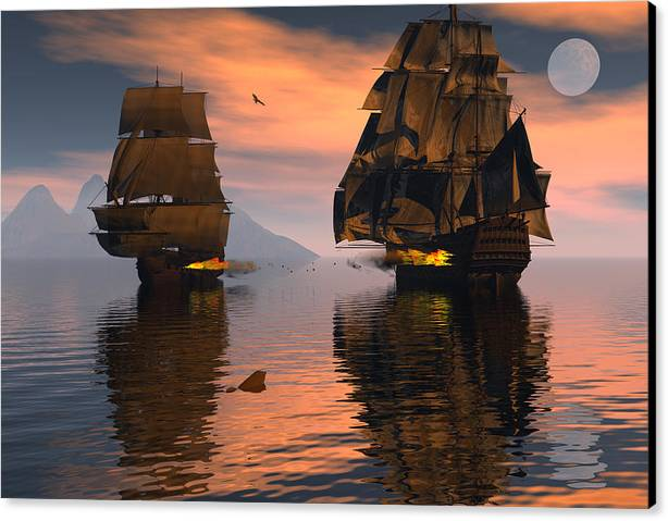 Bryce 3d Fantasy Canvas Print featuring the digital art Outgunned by Claude McCoy
