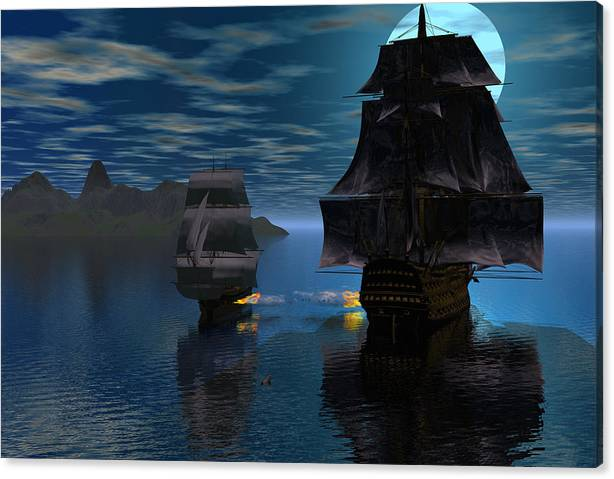 Bryce 3d Fantasy Windjammer Battle Canvas Print featuring the digital art Night Encounter by Claude McCoy