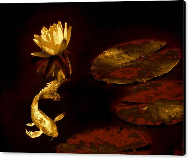 Oriental Golden Koi Fish and Water Lily Flower by Jennie Marie Schell
