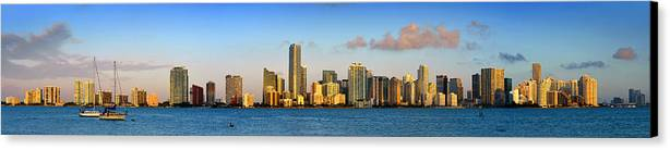 Miami Canvas Print featuring the photograph Miami Skyline In Morning Daytime Panorama by Jon Holiday