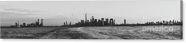 America Canvas Print featuring the photograph Manhatta, New Jersey And The Statue Of Liberty by PorqueNo Studios