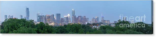 Austin Canvas Print featuring the photograph Austin Texas Building Skyline After The The Lights Are On by PorqueNo Studios