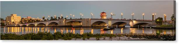 Boats Canvas Print featuring the photograph Flagler Bridge In Lights Panorama by Debra and Dave Vanderlaan