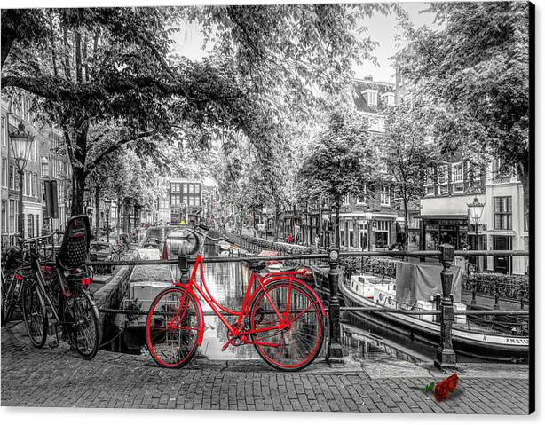 The Red Bike in Amsterdam in Color Selected Black and White by Debra and Dave Vanderlaan