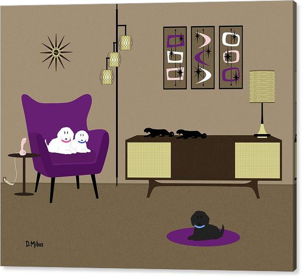 Mid Century Modern Room with Purple Chair by Donna Mibus