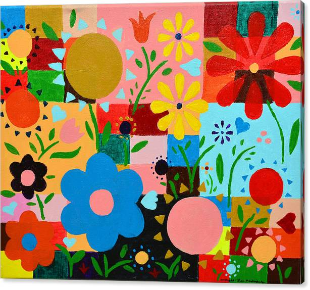 Flowers on the quilt by Artists With Autism Inc