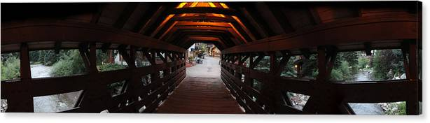 Vail Canvas Print featuring the photograph Covered Bridge In Vail Colorado Panorama by Jeff Schomay