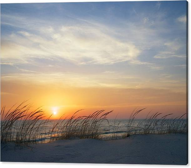 Limited Time Promotion: Lake Michigan Sunset With Dune Grass Stretched Canvas Print