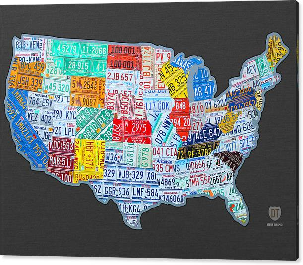 Limited Time Promotion: License Plate Map Of The Usa On Gray Stretched Canvas Print