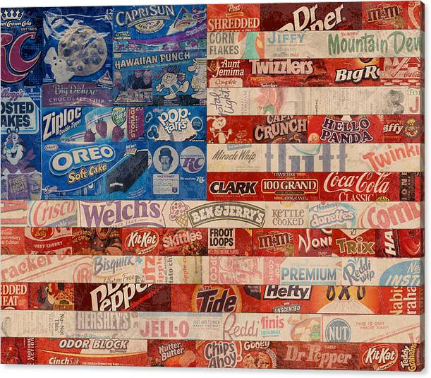 Limited Time Promotion: American Flag - Made From Vintage Recycled Pop Culture Usa Paper Product Wrappers Stretched Canvas Print