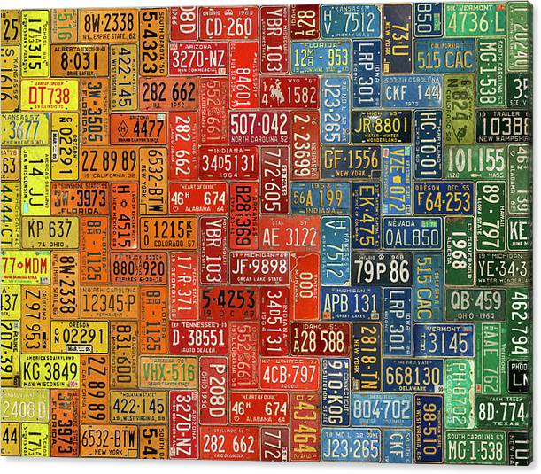 Limited Time Promotion: License Plates Of The United States Colorful Tile Pattern Art Stretched Canvas Print