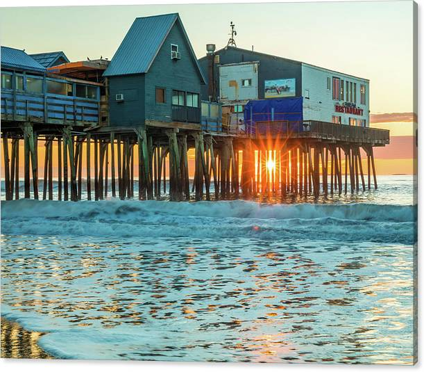 Limited Time Promotion: Pier Patio Pub Sunstar Stretched Canvas Print