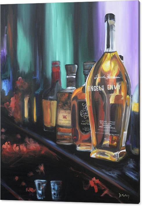 Limited Time Promotion: Bourbon Bar Oil Painting Stretched Canvas Print by Donna Tuten