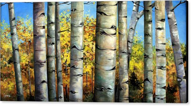 Aspens Canvas Print featuring the painting Aspen Eyes by Cynara Shelton