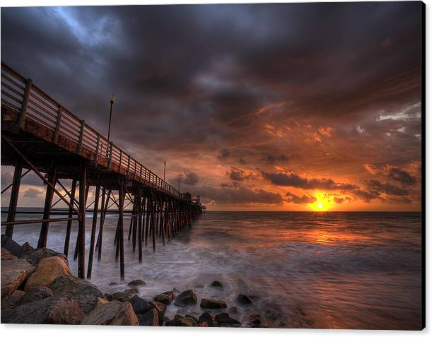 Beach Canvas Print featuring the photograph Oceanside Pier Perfect Sunset Ex-lrg by Peter Tellone