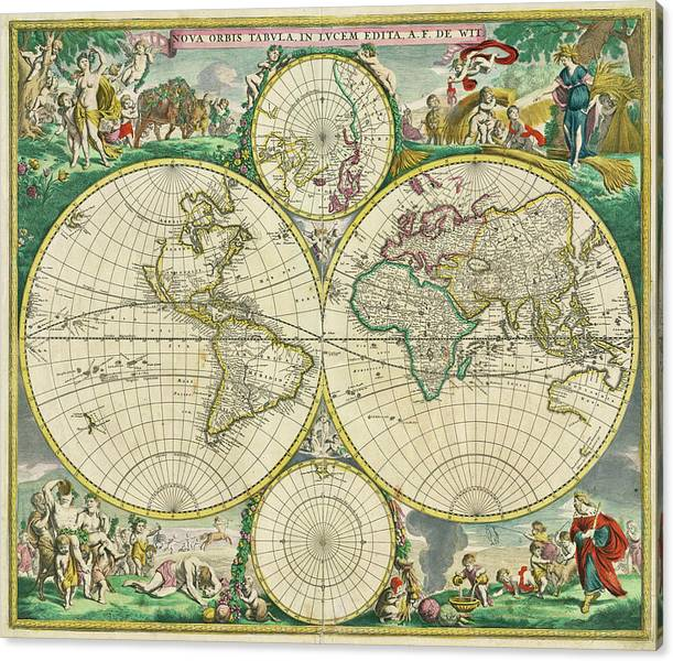Vintage Map of The World 1670 by Adam Shaw