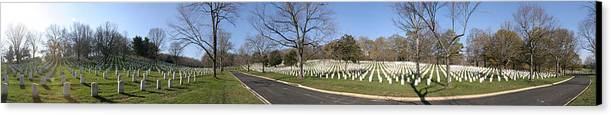 Metro Canvas Print featuring the photograph Arlington National Cemetery Panorama 2 by Metro DC Photography