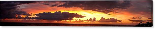 Sunrise Canvas Print featuring the photograph Sunrise Panoramic Flagler Beach by David Jordan