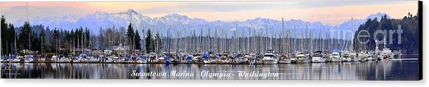 Landscape Canvas Print featuring the photograph Swantown Marina Olympia Wa by Larry Keahey