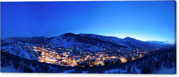 Old Town Park City at Dusk with Both Resorts by Mark Maziarz
