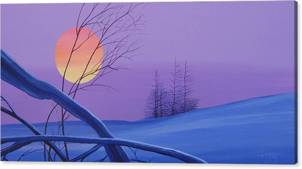 Mountains Canvas Print featuring the painting Silent Snow by Hunter Jay