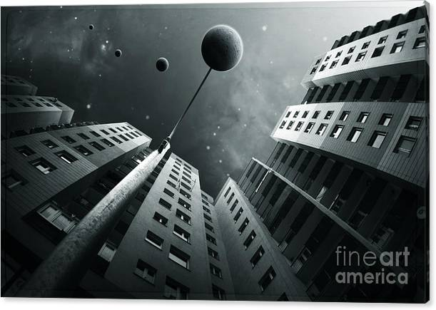 Surreal Canvas Print featuring the digital art City2 by Simon Siwak