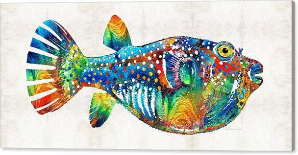 Puffer Fish Art - Blow Puff - By Sharon Cummings by Sharon Cummings