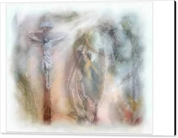 Beauty Canvas Print featuring the mixed media Angels Commanded To Worship Him. by Freddy Kirsheh