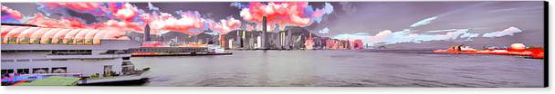 Posterization Canvas Print featuring the photograph Hong Kong Skyline by Yazz
